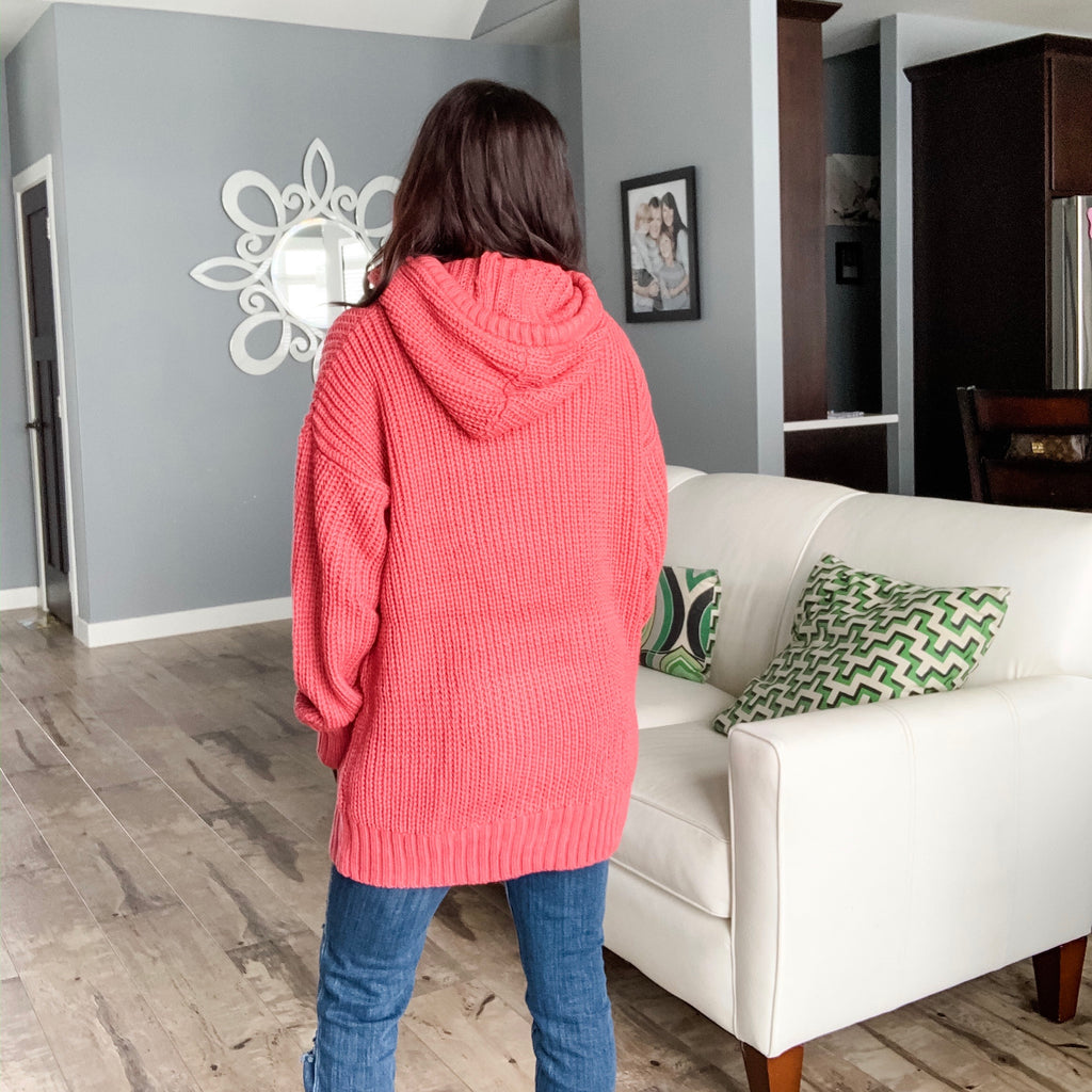 Heavy Knit Hoodie Sweater - Rose