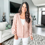Pom Pom Cable Knit Cardi - Blush