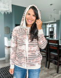 Stones and Stripes Side Zip Hoodie - Marsala