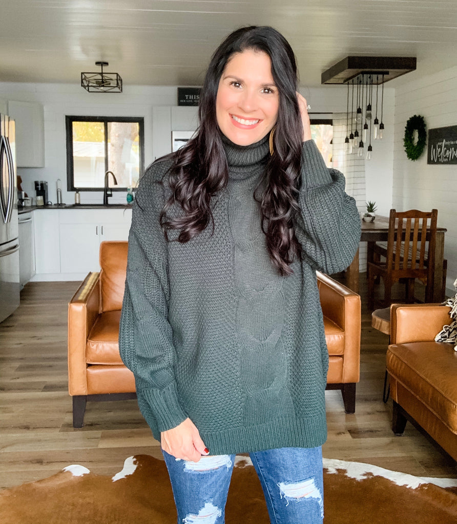 Cable Turtle Neck Sweater - Hunter Green