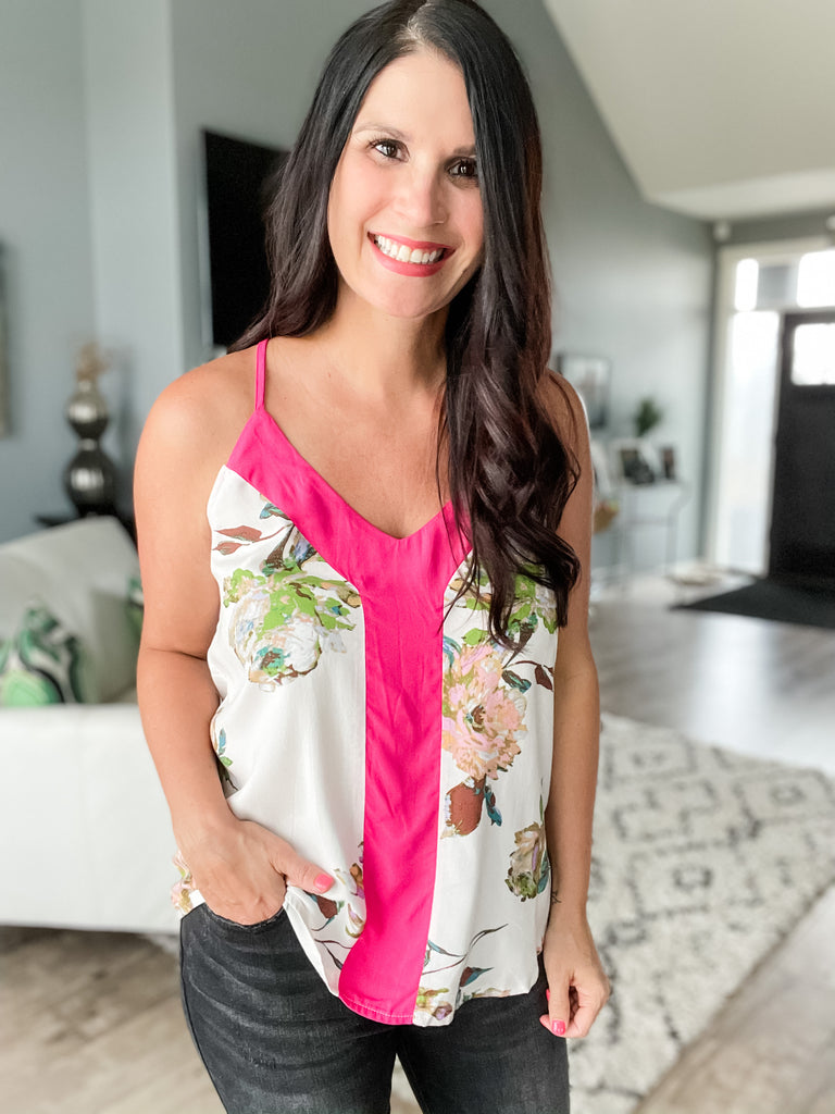 Floral and Fuchsia Tank
