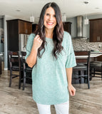 Two Tone Mint Slub Top