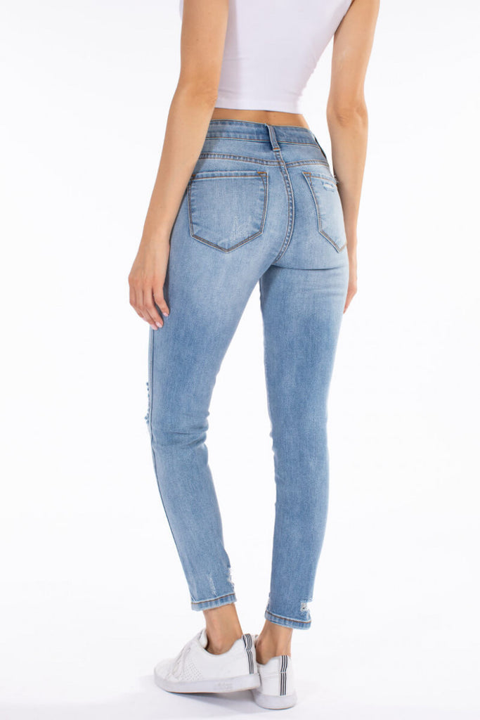 Kancan 4 Button Fly Notch Bottom Denim - LIGHT