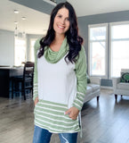 Long Sleeve Cowl Neck Striped Top