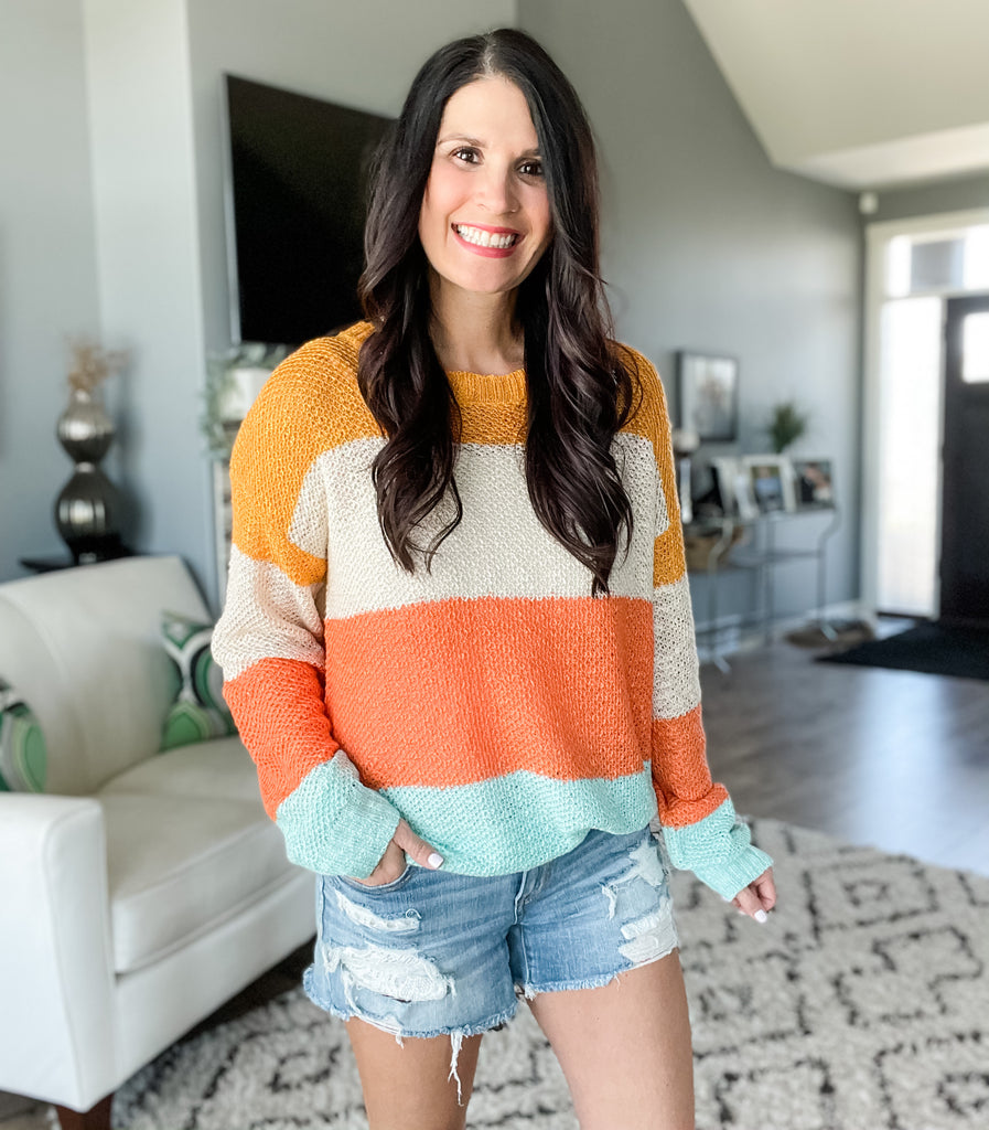 Tangerine Dreams Open Knit Sweater