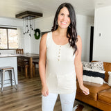 Rib Button Henley Tank - Oatmeal