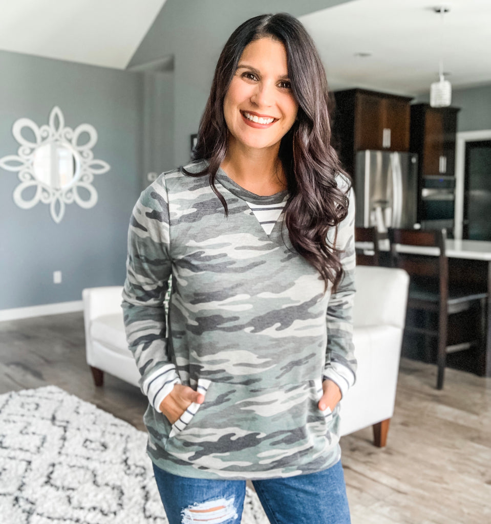 Trimmed in Stripes Camo Top
