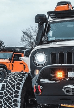 Snorkel Pre-Cleaner on Jeep in snow