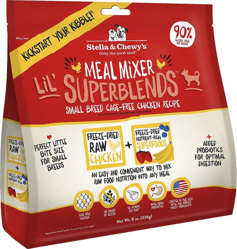 Canine's World 3.25- Oz Bag Stella & Chewy's Food Toppings Stella & Chewy's Lil' SuperBlends Small Breed Cage-Free Chicken Recipe Meal Mixers Freeze-Dried Raw Dog Food Topper,