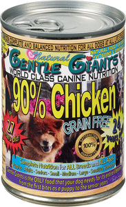 Roll over image to zoom in  Gentle Giants Canine Nutrition 90% Chicken Grain-Free Canned Dog Food, 13-oz, case of 12 - Canine's World