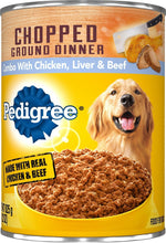 Load image into Gallery viewer, Pedigree Chopped Ground Dinner Combo With Chicken, Beef & Liver Canned Dog Food Case of 12 - Canine's World
