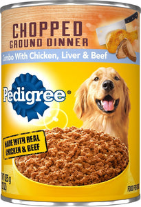 Pedigree Chopped Ground Dinner Combo With Chicken, Beef & Liver Canned Dog Food Case of 12 - Canine's World