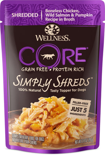 Canine's World Case Of 12 Wellness Food Toppings Wellness CORE Simply Shreds Grain-Free Chicken, Wild Salmon & Pumpkin Wet Dog Food Topper, 2.8-oz