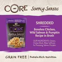 Load image into Gallery viewer, Wellness CORE Simply Shreds Grain-Free Chicken, Wild Salmon & Pumpkin Wet Dog Food Topper, 2.8-oz - Canine's World