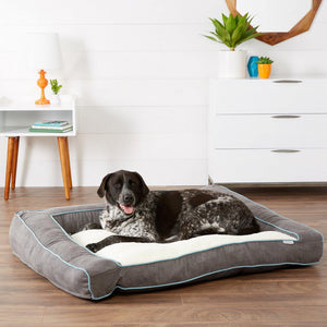 Canine's World Frisco Orthopedic Beds Frisco Ortho Textured Plush Bolster Sofa Dog Bed