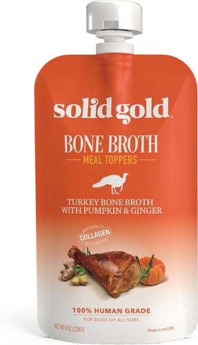 Canine's World 8- Oz Pouch Solid Gold Food Toppings Solid Gold Turkey Bone Broth with Pumpkin & Ginger Dog Food Topper, 8-oz pouch