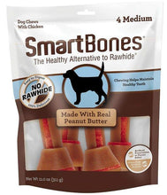 Load image into Gallery viewer, SmartBones Medium Chicken and Peanut Butter Bones Rawhide Free Dog Chew, 4 count - Canine's World