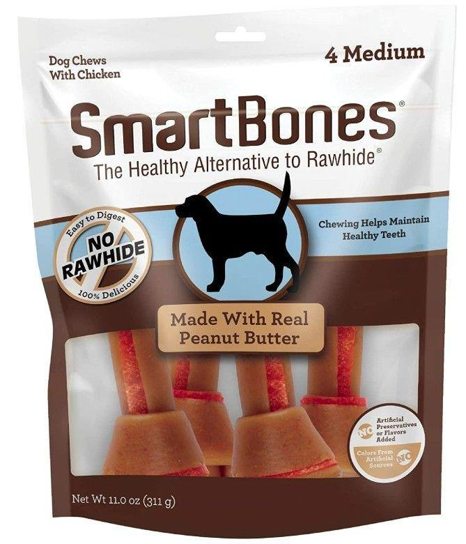 SmartBones Medium Chicken and Peanut Butter Bones Rawhide Free Dog Chew, 4 count - Canine's World