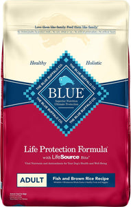 Blue Buffalo Life Protection Formula Adult Fish & Brown Rice Recipe Dry Dog Food,  - Canine's World Blue Buffalo 30-LB Bag Dry Dog Food