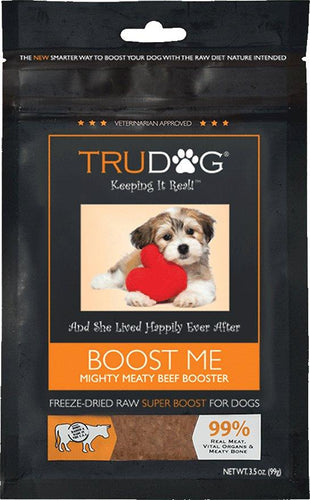 Canine's World 3.5- Oz Bag TruDog Food Toppings TruDog Boost Me Mighty Meaty Beef Booster Freeze-Dried Raw Dog Food Enhancer