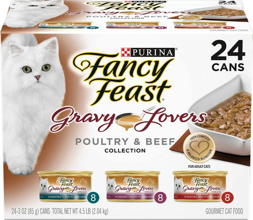 Canine's World Fancy Feast Cat Wet Food Fancy Feast Gravy Lovers Poultry & Beef Feast Variety Pack Canned Cat Food