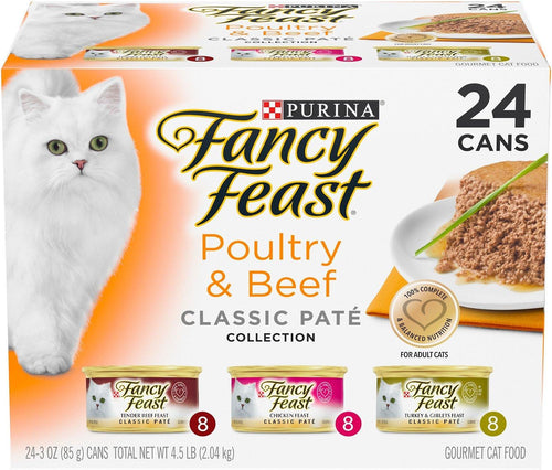 Fancy Feast Poultry & Beef Classic Pate Variety Pack Canned Cat Food, - Canine's World