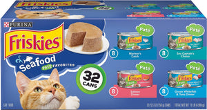 Canine's World Friskies Cat Wet Food Friskies Classic Pate Seafood Variety Pack Canned Cat Food,