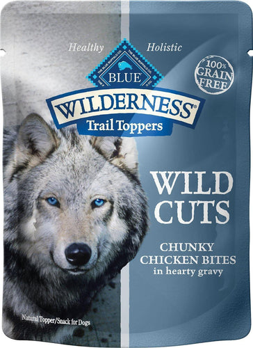 Canine's World Food Toppings Blue Buffalo Wilderness Trail Toppers Wild Cuts Chunky Chicken Bites in Hearty Gravy Grain-Free Dog Food Topper, Case of 24