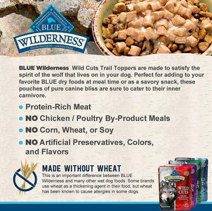 Blue Buffalo Wilderness Trail Toppers Wild Cuts Chunky Beef Bites in Hearty Gravy Grain-Free Dog Food Topper, case of 24 - Canine's World