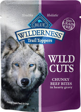 Load image into Gallery viewer, Blue Buffalo Wilderness Trail Toppers Wild Cuts Chunky Beef Bites in Hearty Gravy Grain-Free Dog Food Topper, case of 24 - Canine's World
