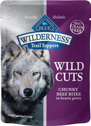 Canine's World Food Toppings Blue Buffalo Wilderness Trail Toppers Wild Cuts Chunky Beef Bites in Hearty Gravy Grain-Free Dog Food Topper, case of 24