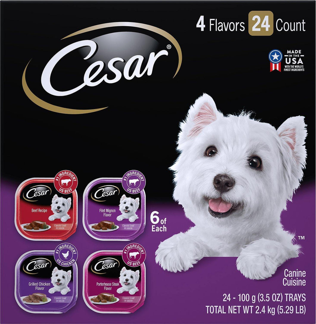 Cesar Classic Loaf in Sauce Beef Recipe, Filet Mignon, Grilled Chicken, & Porterhouse Steak Flavors Variety Pack Dog Food Trays, Case of 24 - Canine's World