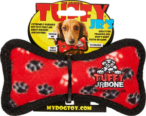 Tuffy's Junior Bone Dog Toy, Red Paws - Canine's World