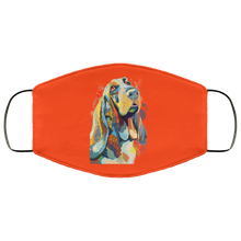 Load image into Gallery viewer, Canine's World Orange / One Size Ultimate Shield Face Masks Hand painted bassethound human Face Mask