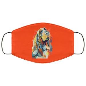 Canine's World Orange / One Size Ultimate Shield Face Masks Hand painted bassethound human Face Mask