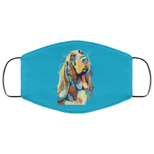 Load image into Gallery viewer, Canine's World Teal / One Size Ultimate Shield Face Masks Hand painted bassethound human Face Mask