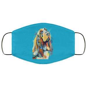 Canine's World Teal / One Size Ultimate Shield Face Masks Hand painted bassethound human Face Mask