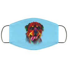 Load image into Gallery viewer, Canine's World Columbia Blue / One Size Ultimate Shield Face Masks Hand painted rottweiler human Face Mask