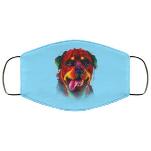 Canine's World Columbia Blue / One Size Ultimate Shield Face Masks Hand painted rottweiler human Face Mask