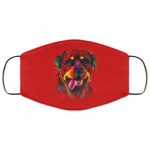Canine's World Red / One Size Ultimate Shield Face Masks Hand painted rottweiler human Face Mask
