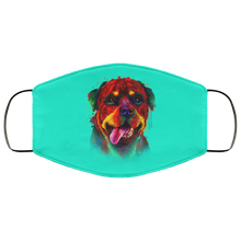 Load image into Gallery viewer, Canine's World Teal / One Size Ultimate Shield Face Masks Hand painted rottweiler human Face Mask