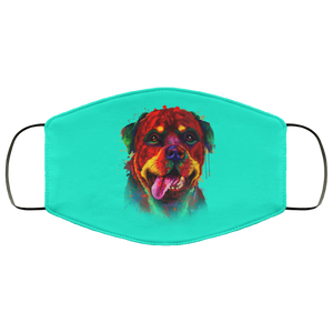 Canine's World Teal / One Size Ultimate Shield Face Masks Hand painted rottweiler human Face Mask