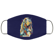 Load image into Gallery viewer, Canine's World Navy / One Size Ultimate Shield Face Masks Hand painted bassethound human Face Mask
