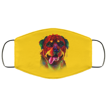 Load image into Gallery viewer, Canine's World Gold / One Size Ultimate Shield Face Masks Hand painted rottweiler human Face Mask