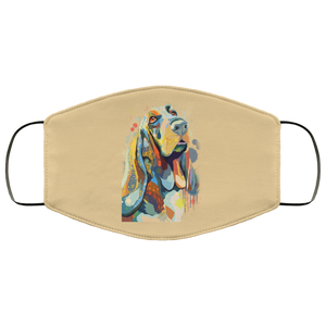 Canine's World Tan / One Size Ultimate Shield Face Masks Hand painted bassethound human Face Mask