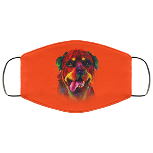 Canine's World Orange / One Size Ultimate Shield Face Masks Hand painted rottweiler human Face Mask