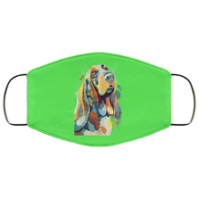 Load image into Gallery viewer, Canine's World Kelly / One Size Ultimate Shield Face Masks Hand painted bassethound human Face Mask
