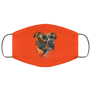 Canine's World Orange / One Size Ultimate Shield Face Masks Hand painted pitbull human Face Mask
