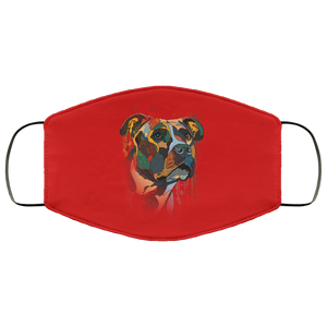 Canine's World Red / One Size Ultimate Shield Face Masks Hand painted pitbull human Face Mask