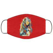 Load image into Gallery viewer, Canine's World Red / One Size Ultimate Shield Face Masks Hand painted bassethound human Face Mask